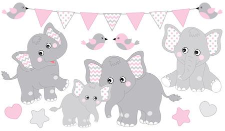 Illustration pour Cute elephants set. Vector elephant illustration for baby girl shower. Vector cartoon elephants. Baby elephant vector illustration. - image libre de droit