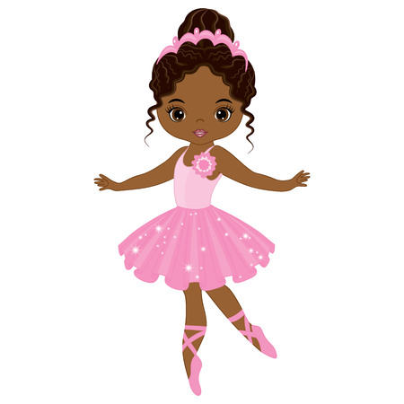 Illustration pour Vector cute little African American ballerina dancing. Vector ballerina girl in pink tutu dress. African American ballerina vector illustration - image libre de droit