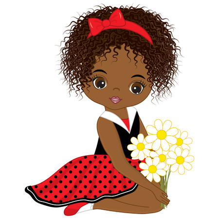 Illustrazione per Vector cute little African American girl with flowers. Vector little girl in polka dot dress and red bow. African American little girl vector illustration - Immagini Royalty Free