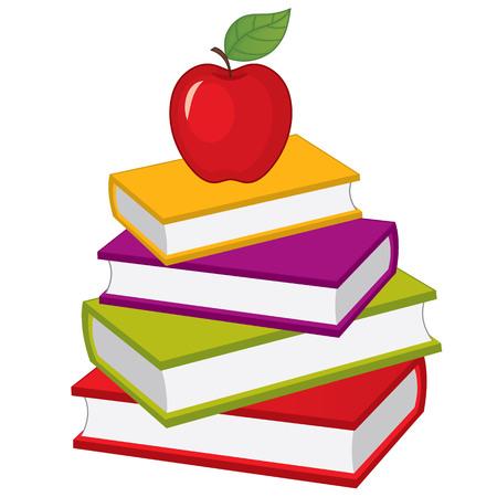 Illustration pour Vector stack of books with apple on top. Vector pile of books. Books vector illustration - image libre de droit