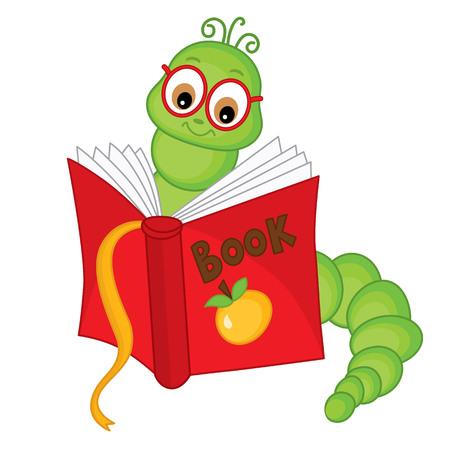 Illustration pour Vector cute carton bookworm in glasses reading book. Vector bookworm in glasses. Bookworm vector illustration - image libre de droit