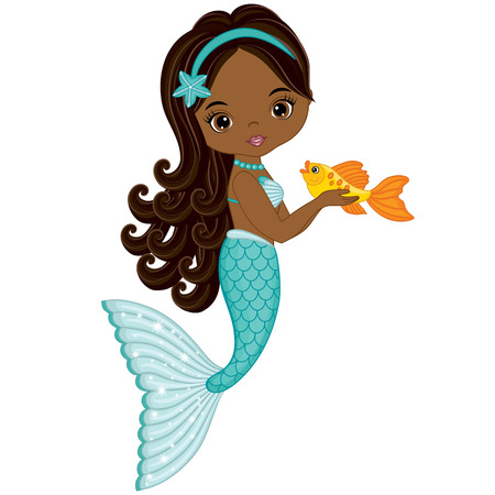 Illustration for Vector cute little mermaid with fish. Vector African American mermaid. Mermaid vector illustration - Royalty Free Image