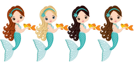 Illustration pour Vector cute little mermaids with fish. Vector mermaids with various hair colors. Mermaids vector illustration - image libre de droit