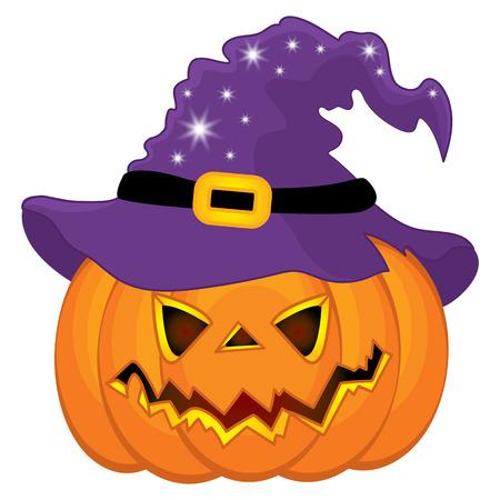 Ilustración de Vector Halloween pumpkin in witch hat. Vector pumpkin. Halloween vector illustration - Imagen libre de derechos