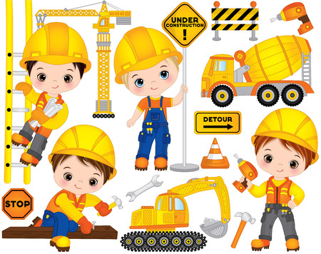 Ilustración de Vector construction set. Set includes cute little boys at work, tools, construction transport and road signs. Vector little builders. Construction vector illustration - Imagen libre de derechos
