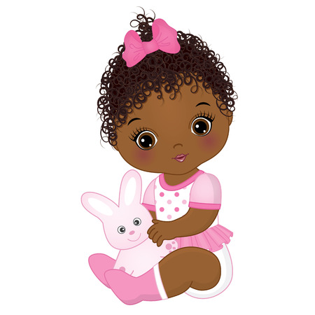 Illustration for Vector cute African American baby girl with toy bunny. Vector baby girl. African American baby girl vector illustration. - Royalty Free Image