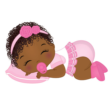 Illustration pour Vector cute African American baby girl sleeping. Vector baby girl. African American baby girl vector illustration - image libre de droit
