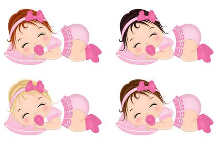 Ilustración de Vector cute baby girls sleeping. Vector baby girls with various hair colors. Vector baby girl. Baby girl vector illustration - Imagen libre de derechos