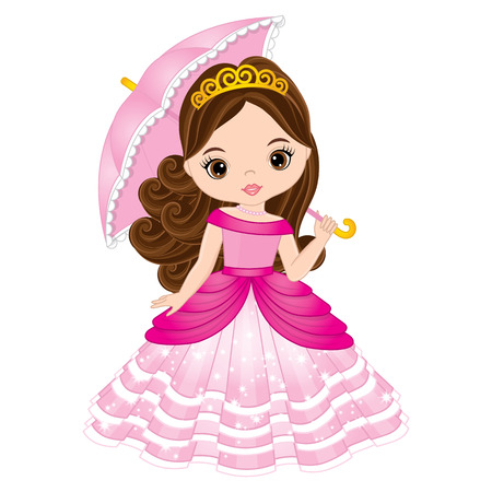 Illustration for Vector beautiful princess in pink dress holding umbrella. Vector cute little girl. Princess vector illustration - Royalty Free Image