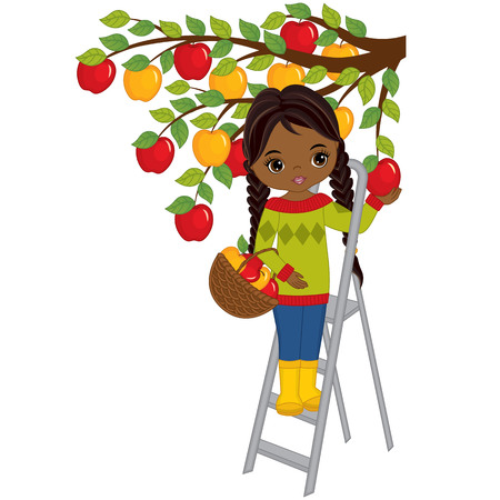Vector cute little African American girl picking apples from tree. Vector little girl with basket of apples. Vector little girl. Little African American girl vector illustration