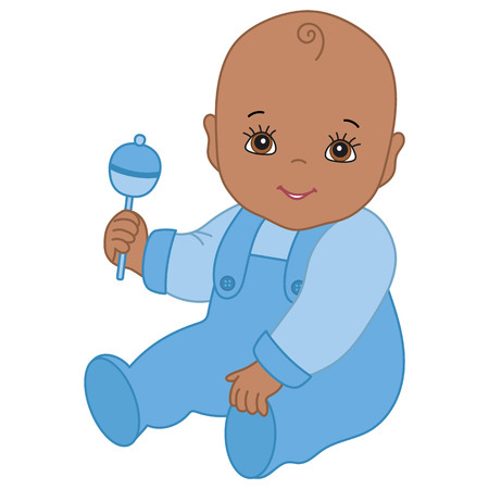 Illustration for Vector cute African American baby boy with rattle sitting. African American baby boy vector illustration - Royalty Free Image