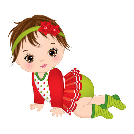 Vector cute little baby girl wearing Christmas clothes. Vector baby girl. Vector Christmas baby girl. Baby girl vector illustration