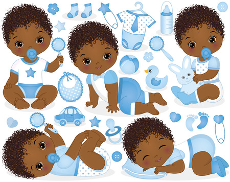 Foto de Vector set with cute African American baby boys, toys, clothes, decorations and various accessories. Vector baby boy. Vector baby boy shower. rican American baby boys vector illustration - Imagen libre de derechos