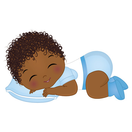 Foto de Vector cute African American baby boy sleeping. Vector baby boy shower. African American baby boy vector illustration - Imagen libre de derechos