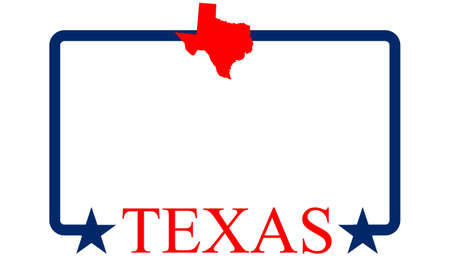 Texas state map, frame and name
