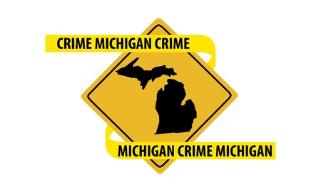 Road sign with Michigan state map and crime tape