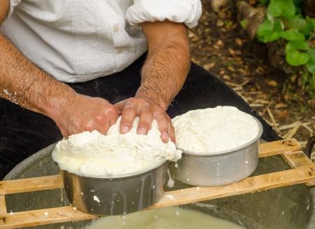 Farmer makes cheese