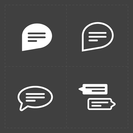 New Speech bubble icons on black background. Vector illustration