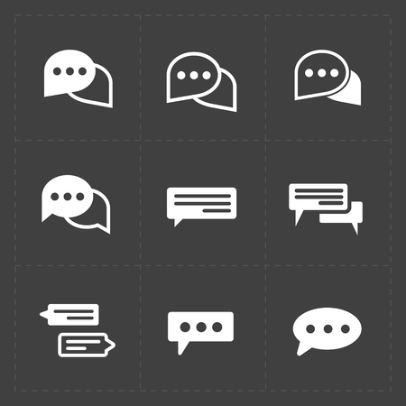 New Modern Speech bubble icons on black background. Vector illus