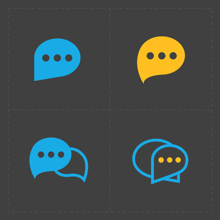 Colorful Speech bubble icons on black background. Vector illustr