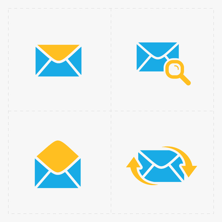 Email and envelope icons on White Background.