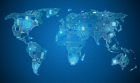 Illustration pour World map technology style digital world with electronic systems, traveling anywhere in the world using the gadget, white border on a blue background - image libre de droit