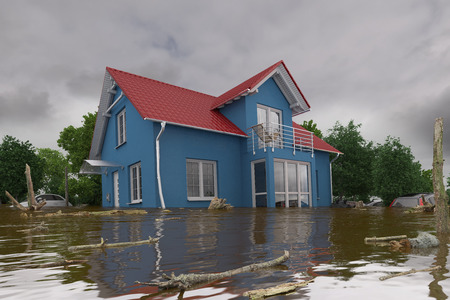 3d render of a flooding blue house - force of nature