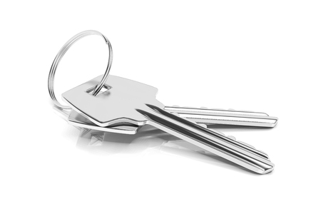 3d render of two keys on metal keyring isolated on white background.