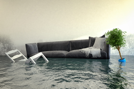 Photo pour 3d render - Water damager after flooding in house with furniture floating. - image libre de droit