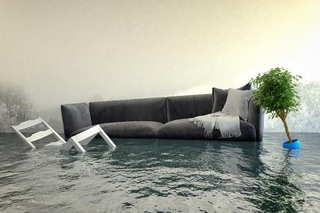 Foto de 3d render - Water damager after flooding in house with furniture floating. - Imagen libre de derechos