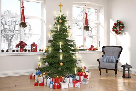 Foto de 3d render of a nordic living room with christmas decoration and christmas tree. - Imagen libre de derechos