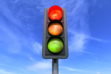 Photo pour 3d render - road traffic - red - over sky background - image libre de droit