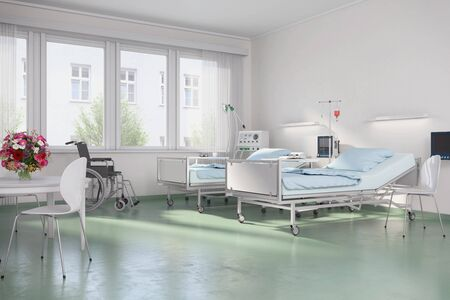 Foto für 3d render - Empty hospital room with beds in a clinic - Lizenzfreies Bild