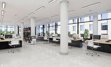 Foto de 3d render - open plan office - office building - modern architecture. - Imagen libre de derechos