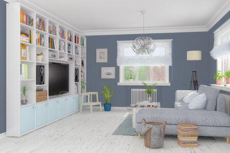 Photo pour 3d render of a Scandinavian, Nordic apartment - living room - image libre de droit