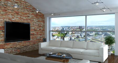 Photo pour Interior of living room with brick wall  - image libre de droit