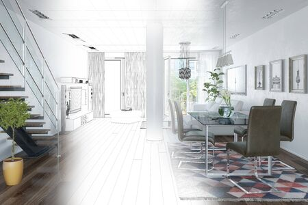 Photo pour 3d render of a modern loft with large window - Bright living room with a large couch and a staircase - wireframe - image libre de droit