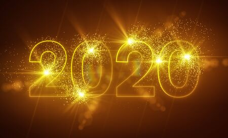 Photo pour abstract neon light in gold with the numbers 2020 - represents the new year - holiday concept - image libre de droit
