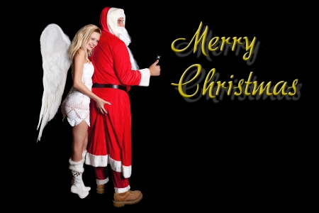 Female angel with large wings, holding hand man, Santa Claus on his ass, with inscription Merry Christmas