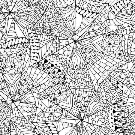 Illustration pour Hand drawn flower ornament for adult anti stress. Coloring book page with high details isolated on white background. abstract seamless pattern. - image libre de droit