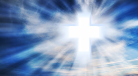 Bright Christian Cross in the Sky with Light Rays, Christianity Symbol