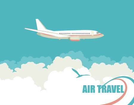 Illustration for Vertical banner with the image of an airplane flying up against the sky - Royalty Free Image