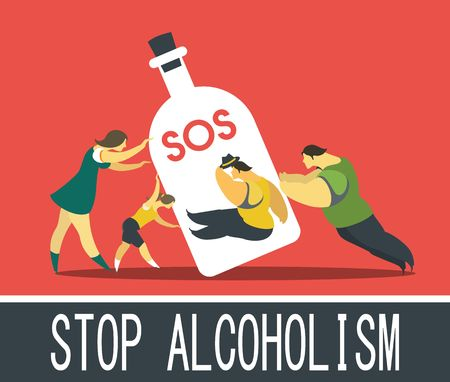 Abstract poster about the issue of alcohol dependence in a flat style
