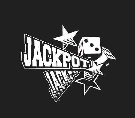 vector illustration of the letters and signs jackpot casino symbols on white background