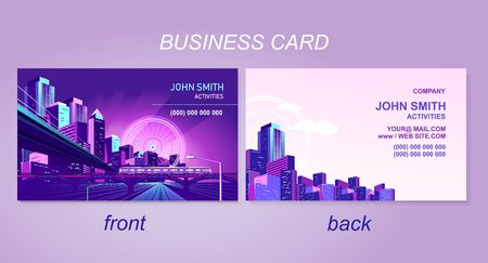 Ilustración de business card for the company or individual, with the image of a night city, road perspective, Front and back side template. - Imagen libre de derechos