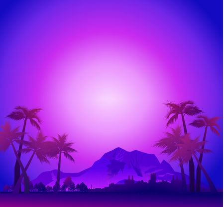 Illustration pour Exotic paradise landscape in violet colors with palm trees, hawaii with night evening sky, vector illustration - image libre de droit