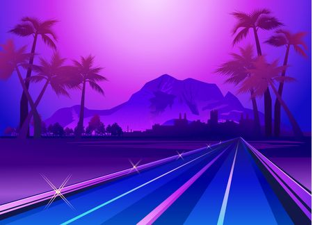 Illustration pour Exotic paradise landscape in violet colors with palm trees and mountains, road leading deep into the vector illustration - image libre de droit