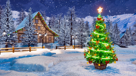 Outdoor Christmas tree decorated by lights garland against cozy alpine rural house and snow covered fir trees on background at snowfall winter night.