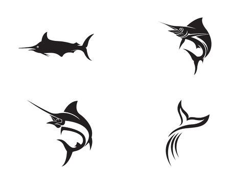 Marlin jump fish logo