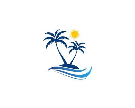 Illustration pour Palm tree summer template vector illustration - image libre de droit